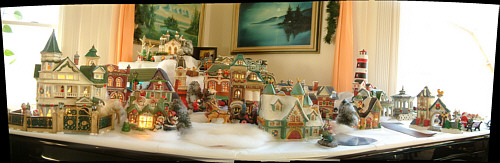 panorama of mom's christmas village